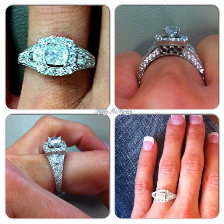 My vintage cushion cut halo engagement ring by Neil Lane I love it
