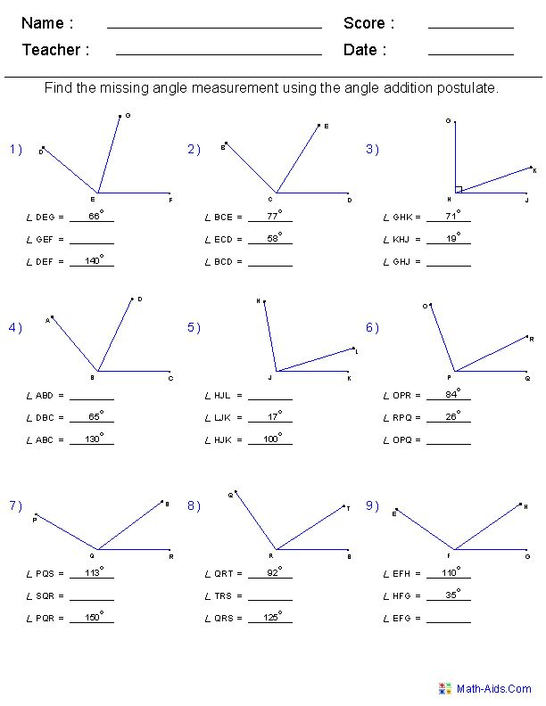 Find all of the missing angles worksheet answers