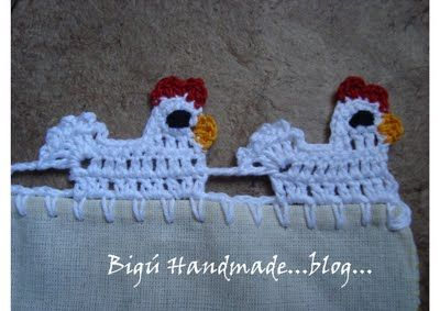 Puntilla Gallinita...(Little Hen Lace)  Marsha, these are really cute!  The instructions are in spanish, but you could get them converted, or see how much you REALLY learned in HS spanish class!