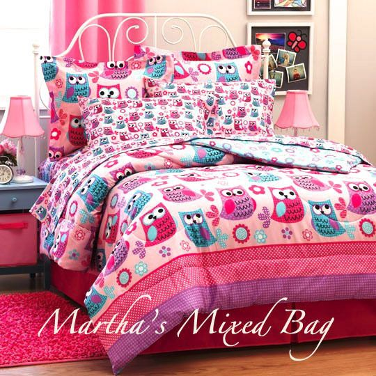 ... HOOT OWLS & FLOWERS Twin OR Full PINK TURQUOISE COMFORTER BEDDING SET