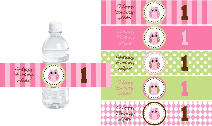 Owl water bottle labels diy printable file personalized for Buy water bottle labels