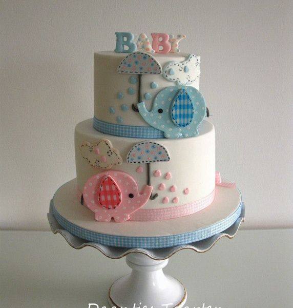 Baby Shower Cakes Blue ~ Pink blue elephant baby shower cake inspiration