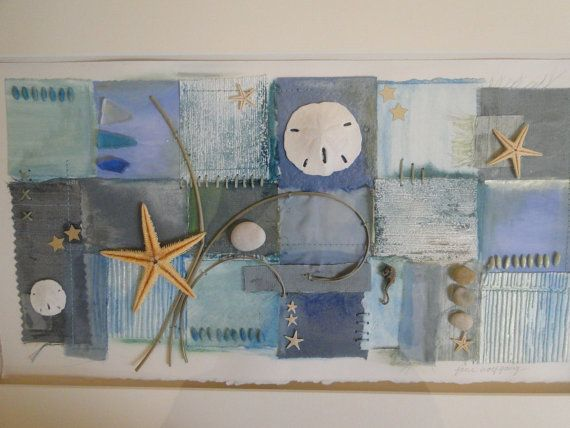 Mixed Media Collage Beach Themed Wall D Cor Original Aqua Sea Gla