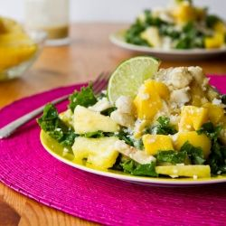 Tropical Kale Salad with Creamy Pineapple Lime Coconut Dressing...in ...