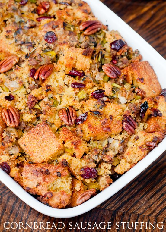 Cornbread Sausage Stuffing with Leeks, Pecans, and Dried Cranberries ...
