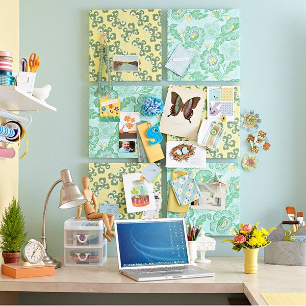 DIY Inspiration Boards from Lowes.  Fill your room with wall-to-wall inspiration by dressing up insulation boards in your favorite fabrics. #diy #crafts #inspiration_boards #hardware #fabric #bulletin_boards #boards #lowes