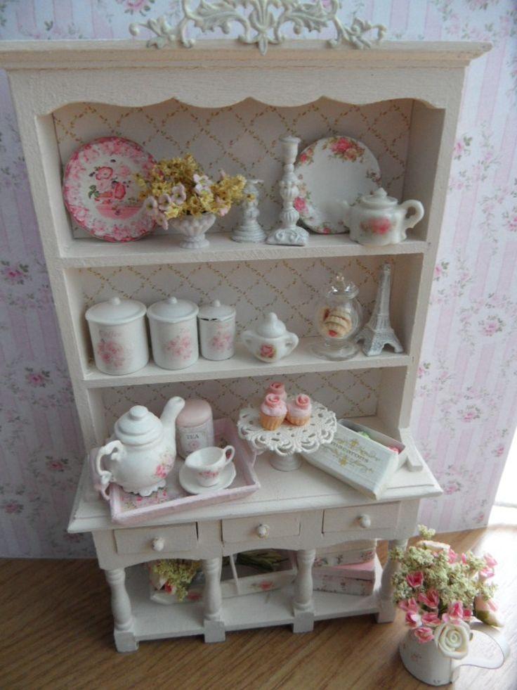 Adorable Dollhouse shabby chic kitchen hutch