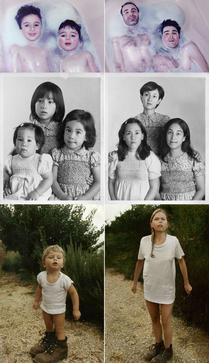 Recreating childhood photos for parent's birthday present.