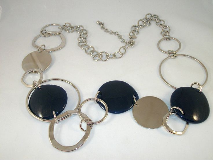 "CHICO'S Silver & Blue Fashion Necklace. Can also be Worn as a Belt- 37""- 41"" Excellent Pre-Owned Condition!$ 24.97 obo (Free S&H)"