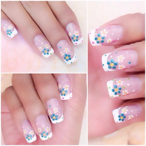 Nail design with flowers | Manicure | Pinterest