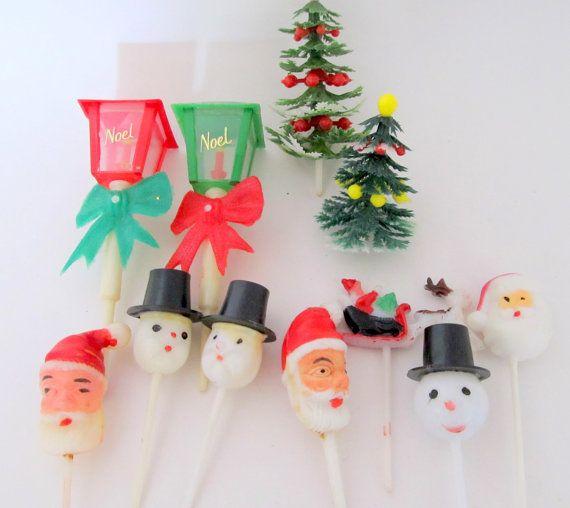 Etsy Christmas Cake Decorations : Christmas Vintage Plastic Cake Decorations