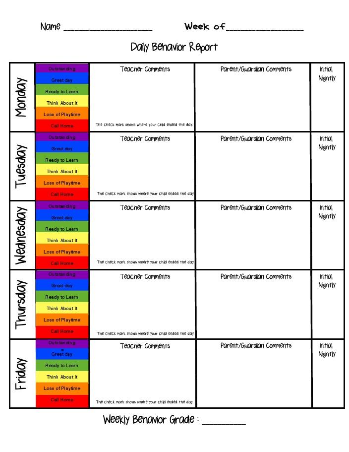 Behavior Report Card | New Calendar Template Site
