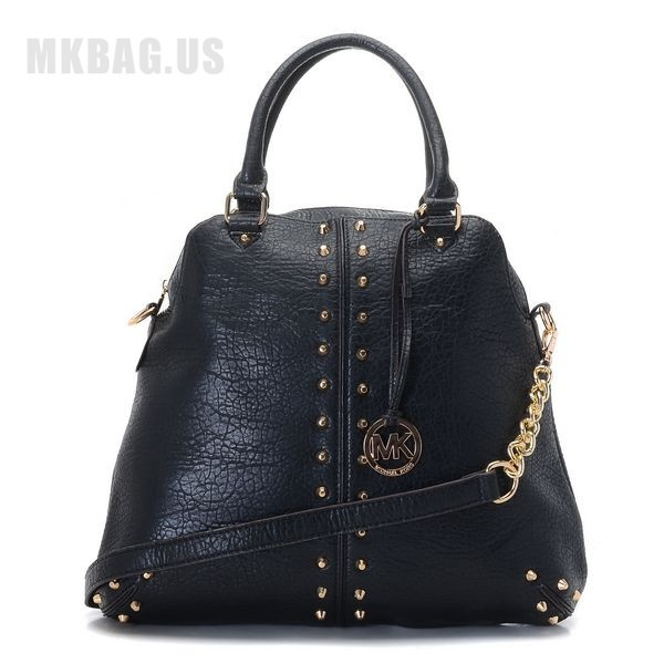 MICHAEL Michael Kors Uptown Astor Large Satchel Black Lambskin Leather