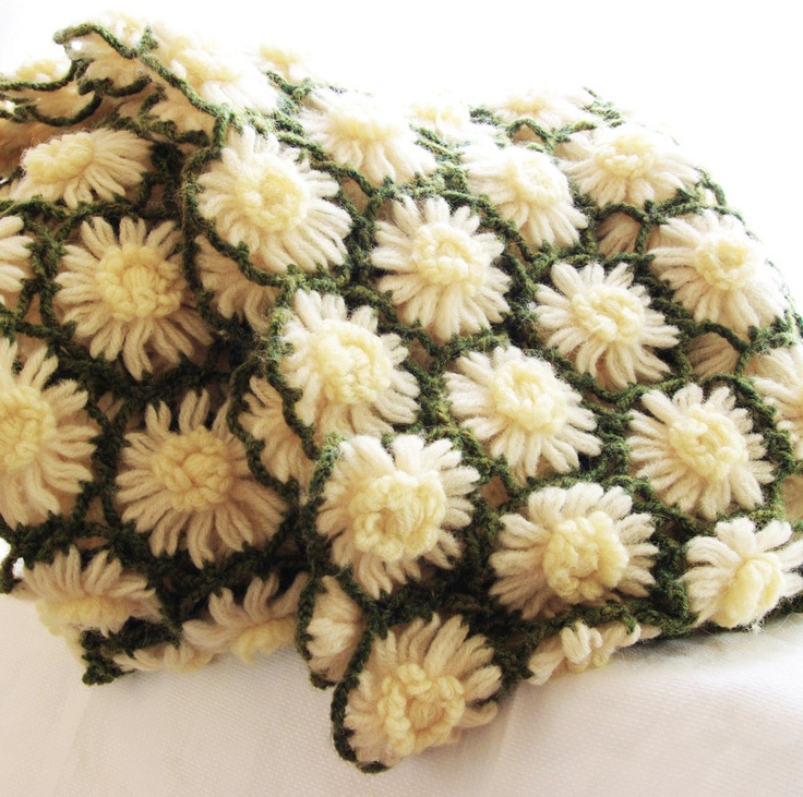 Vintage Crochet Afghan Blanket Cozy Lap Throw Cover Green White Yellow Daisy Flowers Farmhouse Country Autumn Handmade, Vintage Home Deco