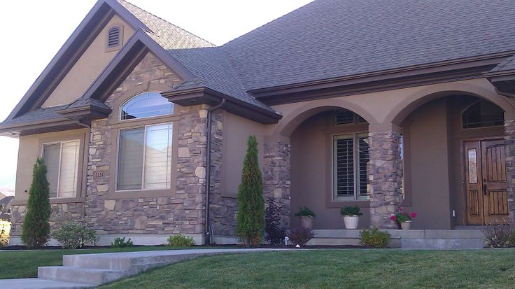 Spectrum brown stucco one day pinterest for Stucco house designs