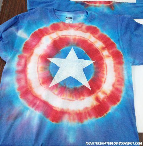 diy Captain America tie dye tee