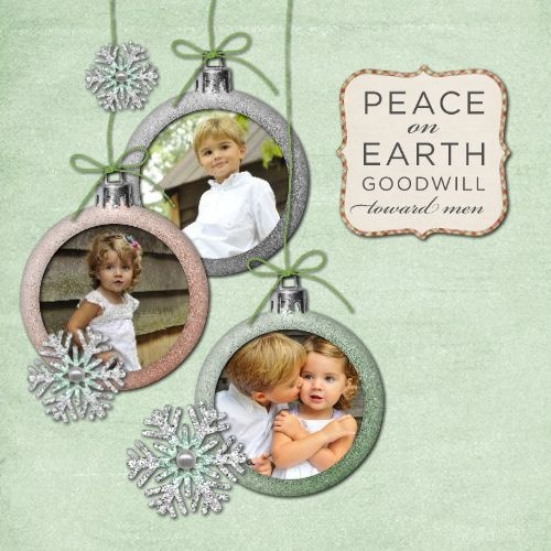 Family ornament (Christmas) 5 x 5 Side Fold Greeting Card Template ID: 66402