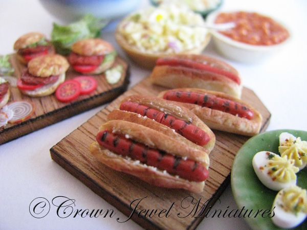 Realistic 1:12 scale picnic feast by Crown Jewel Miniatures.