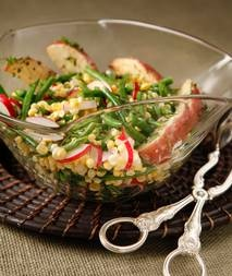Green Bean Salad: Haricots verts, corn, peas, radishes and potatoes in ...