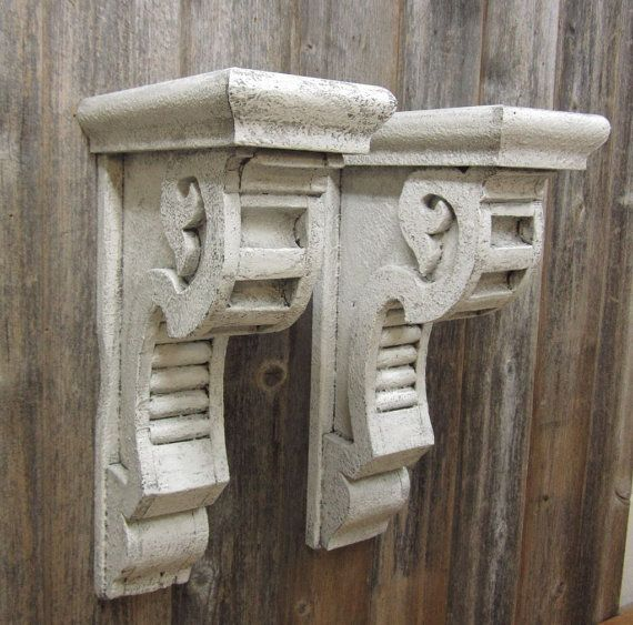 2 large vintage corbels shelf brackets mantle supports for Architectural corbels and brackets