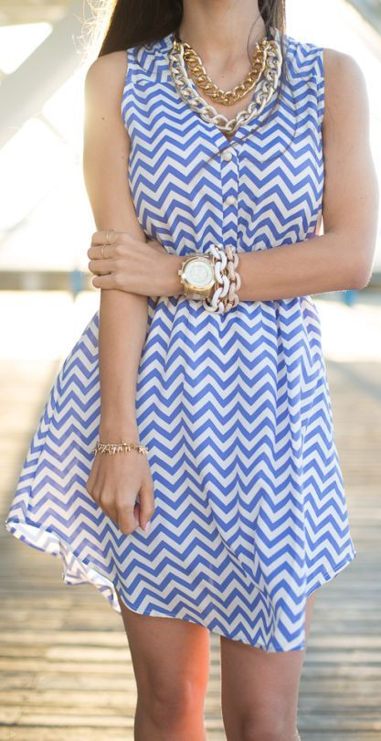 Blue White Stripes Dress