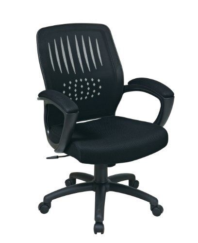 Screen Back Chair With Black Mesh Seat By Office Star Heavy