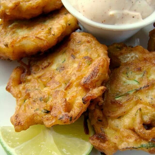 Zucchini Fritters ~ Combine - 2 beaten eggs, 1/4 red onion grated, 1/2 ...