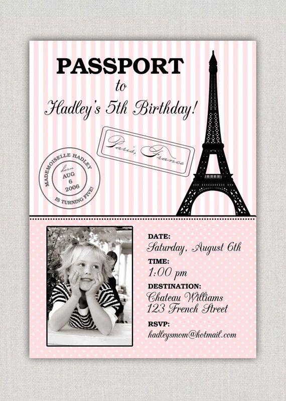 Paris birthday invitation for Paris themed crafts for kids