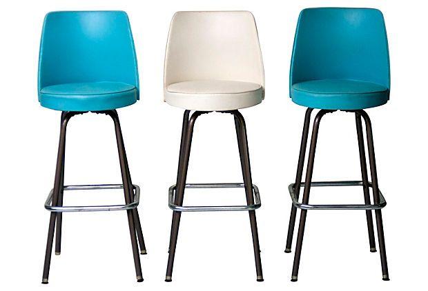 Mid century modern bar stools set of 3 on onekingslane com