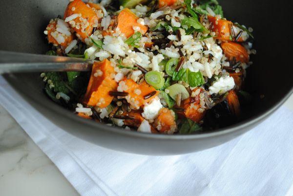 Roasted Sweet Potato, Feta, and @Lundberg Family Farms Wild Rice Salad