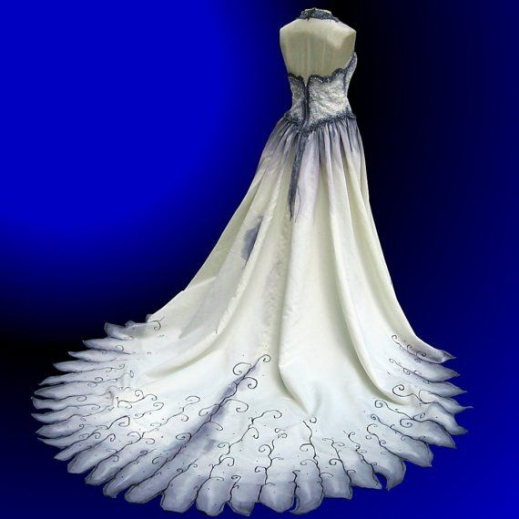 Hand painted gothic wedding gown vesture pinterest for Painted on wedding dress