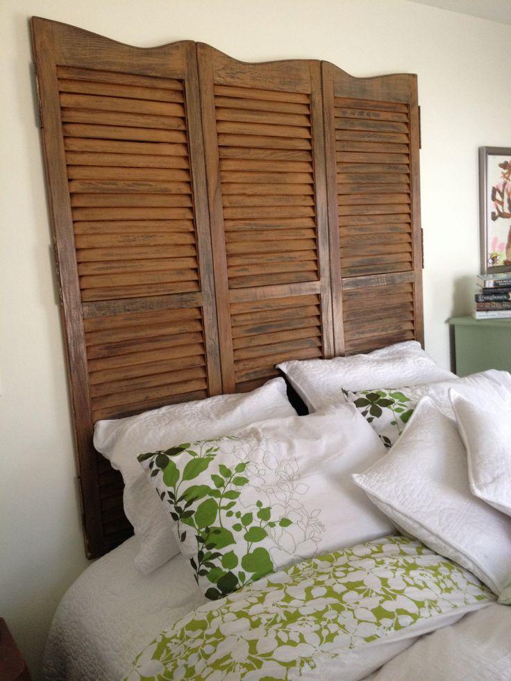 DIY re-purposed shutter Headboard | bedroom | Pinterest