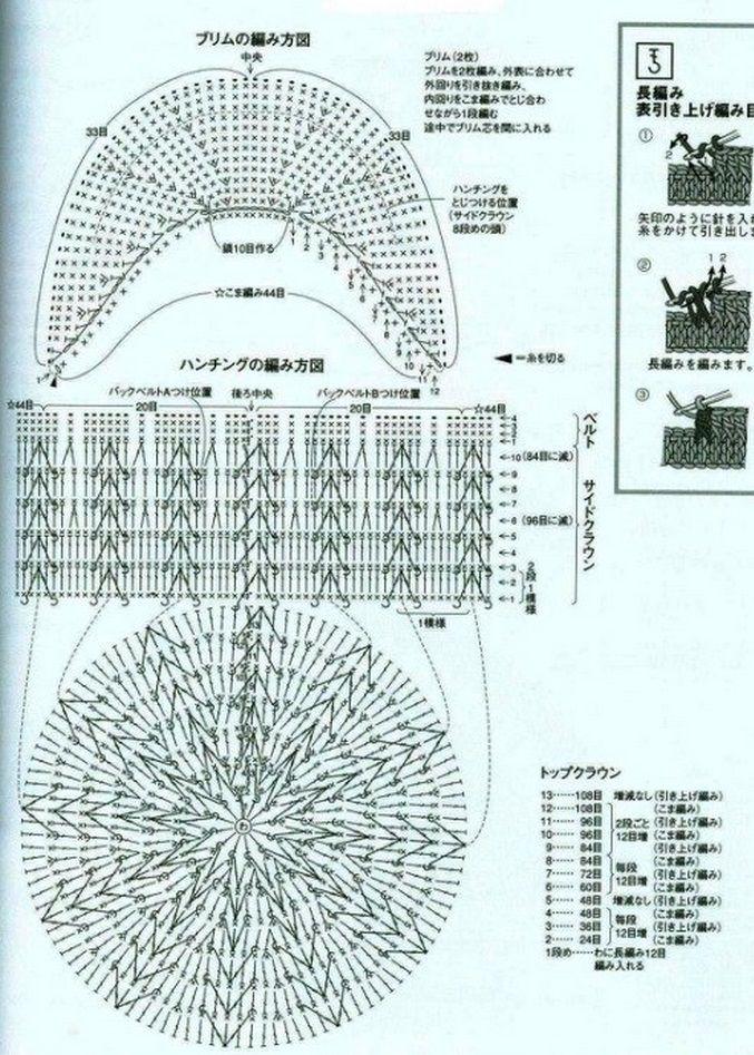 Схема вязания крючком кепки с козырьком для мальчика 84