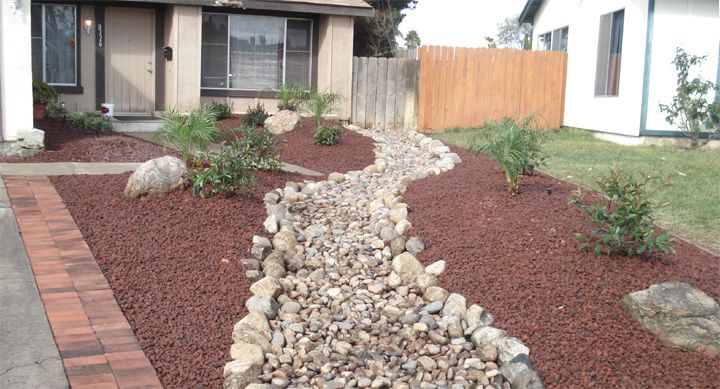 Rock landscaping for front yard outside creations for Different color rocks for landscaping