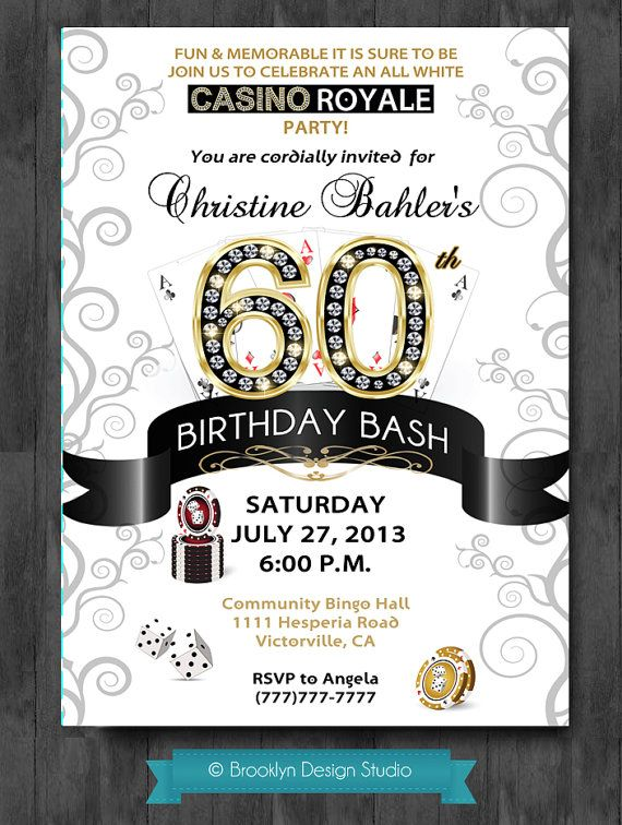 Casino themed birthday party invitations 1 SLots Online