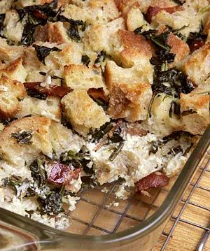 Savory bread pudding with dandelion greens and bacon....OK, I'd swap ...