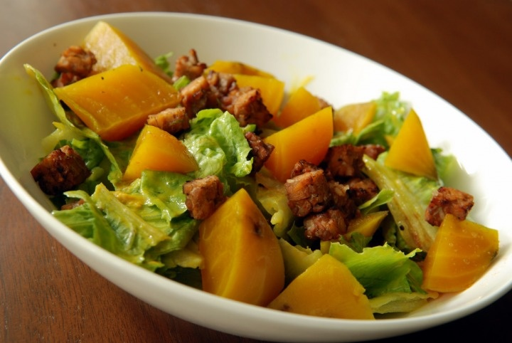 Roasted Golden Beet Salad With Warm Maple Mustard Dressing and Smoky ...