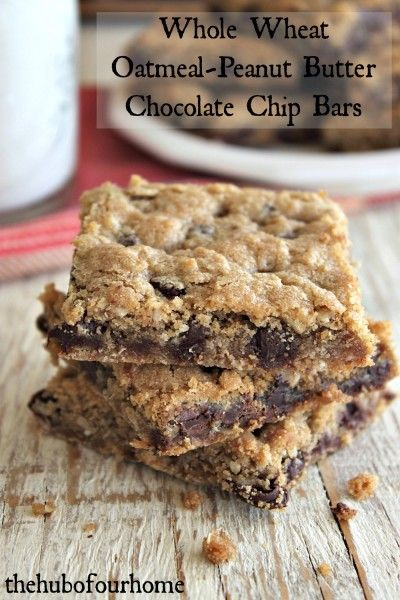 Whole Wheat Oatmeal Peanut Butter Chocolate Chip Bars