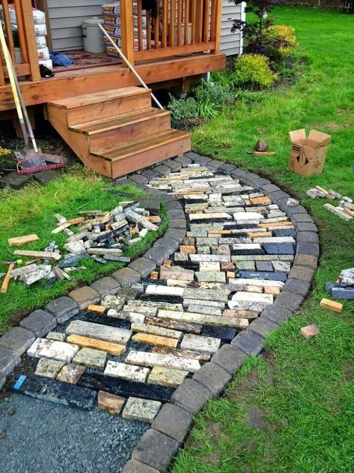 Recycled granite countertop walkway Garden Pinterest