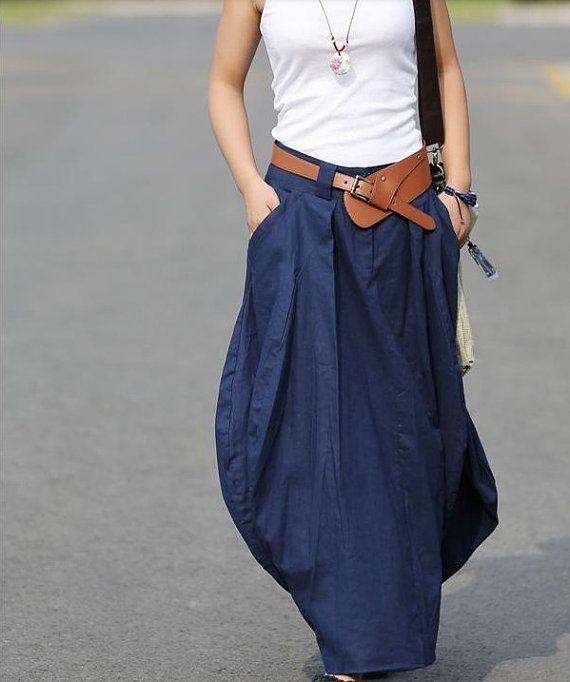 blue pretty linen bud maxi skirt dress