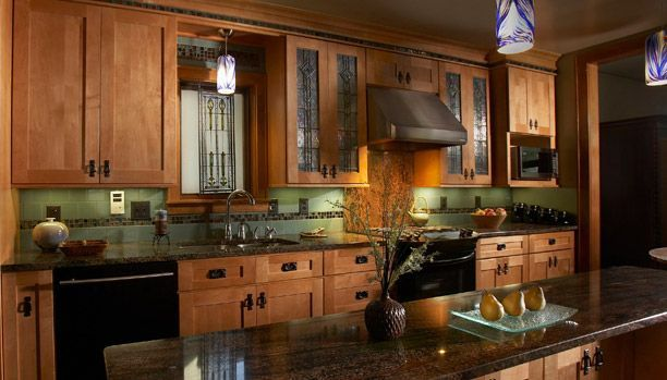 Mission Style Kitchen Decorating Green Accents And Oak Cabinets With