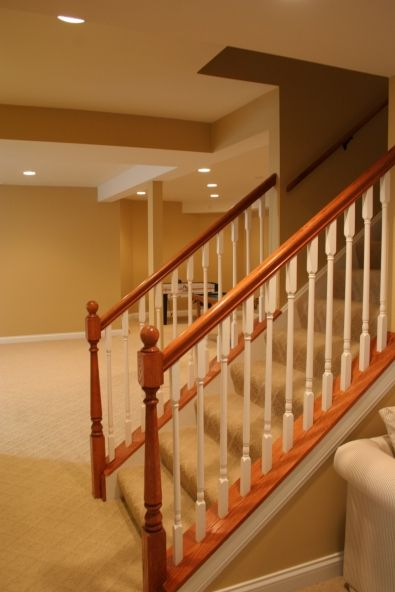 Basement stair two toned railings basement ideas pinterest - Basement stair ideas pinterest ...