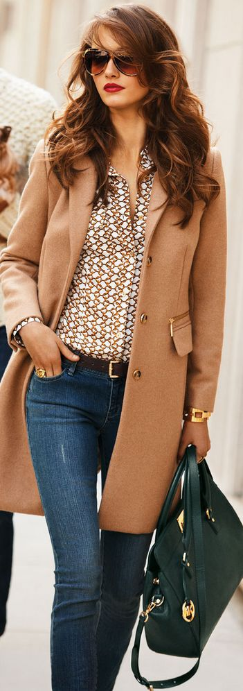 Brown Coat with Suitable Shirt, Blue Jeans and Leather Handbag