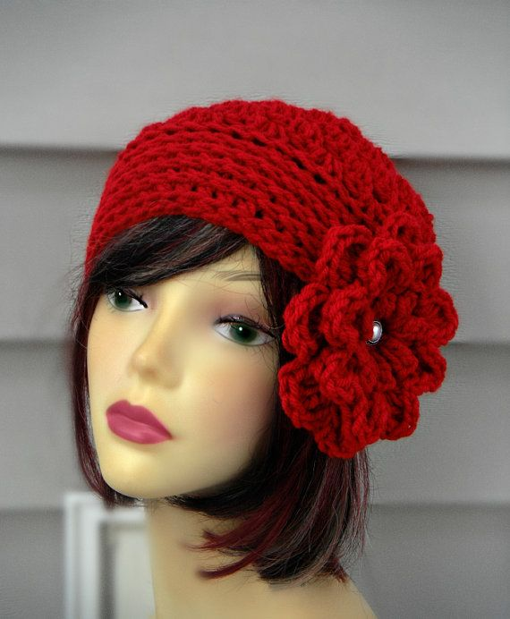 Womens Red Hat Crochet Winter hat Hair Accessories Womens Red Fashion ...