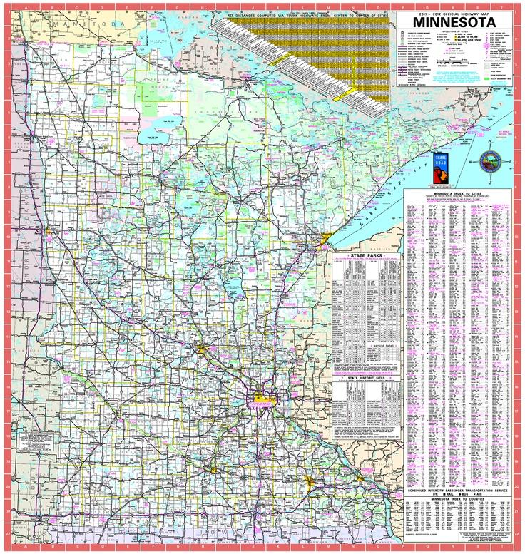 Minnesota Road Map  Maps  Pinterest