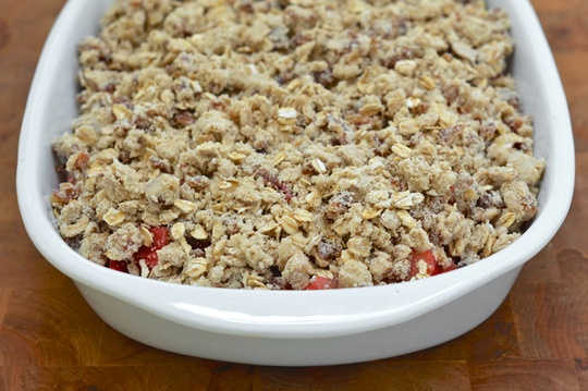 cooled date filling spread over oatmeal mixture for dairy, egg, soy ...
