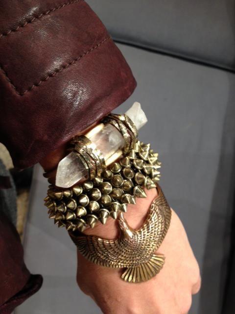 love these chunky brass bracelets