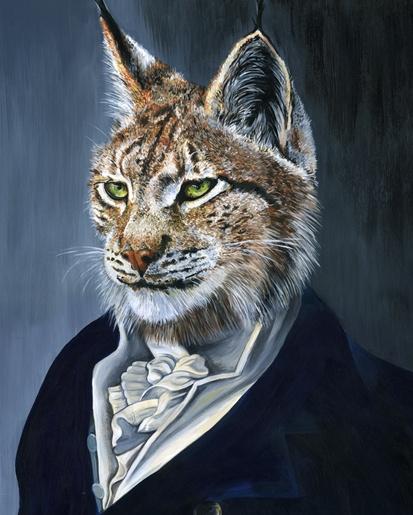 """Melissa Hartley  Earl """"Royal Felidae""""  Acrylic on gesso board, 2011  12 x 16 inches, 30.5 x 40.6 cm"""