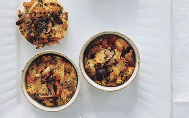 Wild Mushroom Bread Pudding. Decadent. Could be a nice alternative to ...