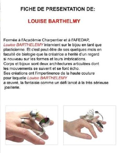 Galerie Wenge UN PORTRAIT PAR SEMAINE: UNE PRÉSENTATION DES CRÉATRICES PARTICIPANT A L'EXPOSITION TOTALEMENT EXQUIS A LA GALERIE WENGE : Louise Barthelemy